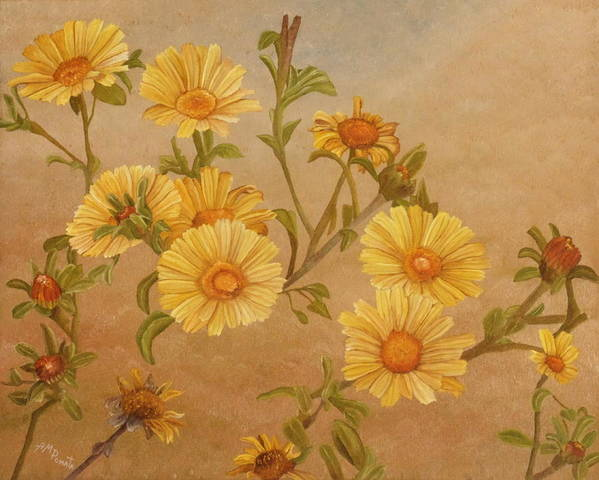 Daisies Poster featuring the painting Yellow Daisies by Angeles M Pomata
