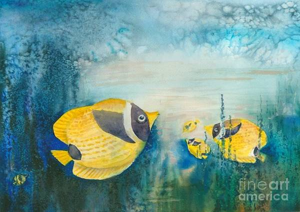 Underwater Poster featuring the painting Yellow Fish Yellow Fish by Christine Mulder