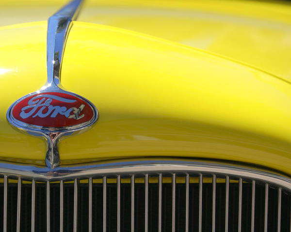 Yellow Poster featuring the photograph Yellow Ford by Jim Georgiana