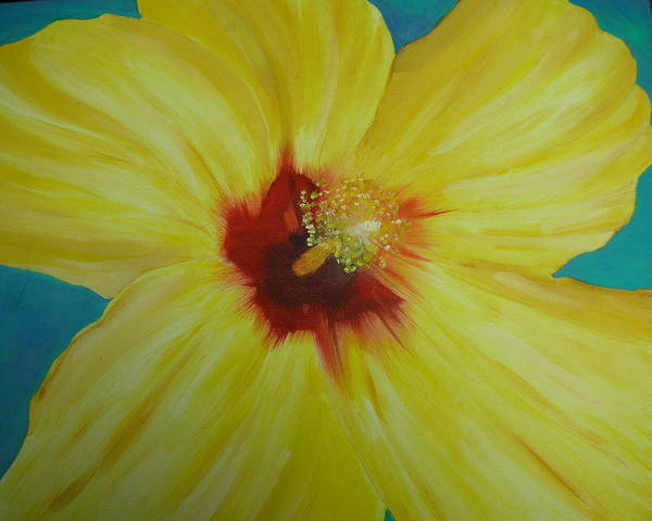 Flower Poster featuring the print Yellow Hibiscus by Melinda Etzold