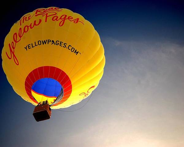 Hot Air Poster featuring the painting Yellow Pages Balloon by Michael Thomas