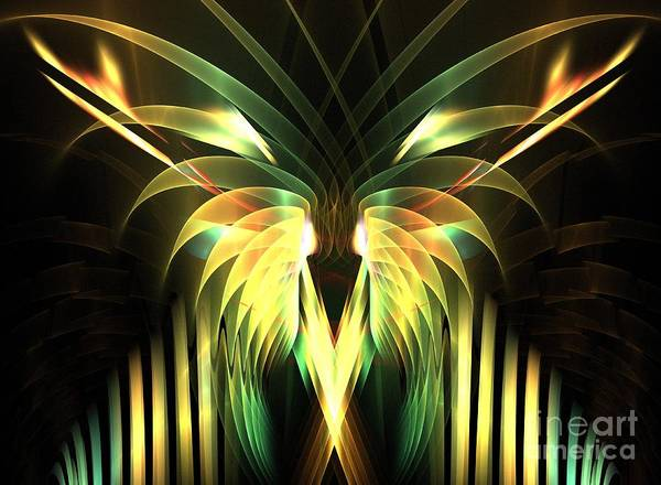 Apophysis Poster featuring the digital art Yellow Plumes by Kim Sy Ok
