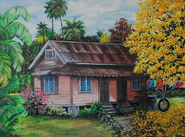Old House Poster featuring the painting Yellow Poui Time by Karin Dawn Kelshall- Best