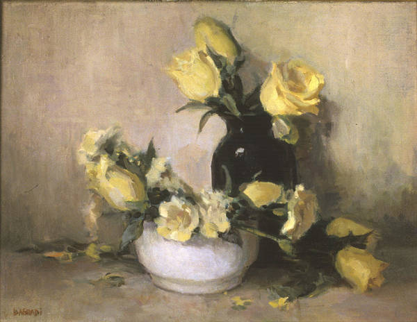 Yellow Roses Poster featuring the painting Yellow Roses by Joan DaGradi