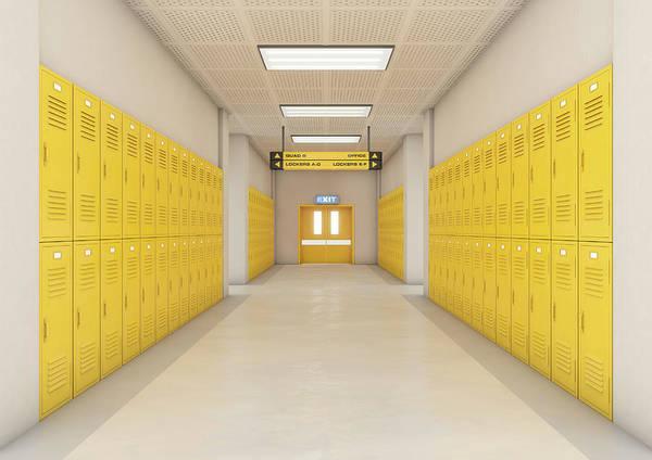 Locker Poster featuring the digital art Yellow School Lockers Light by Allan Swart