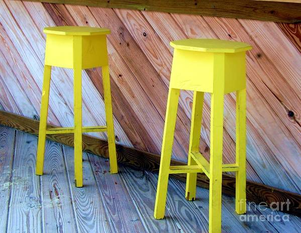 Yellow Poster featuring the photograph Yellow Stools by Debbi Granruth