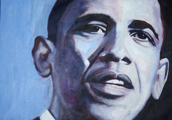 Barack Obama Poster featuring the painting Yes We Can by Fiona Jack