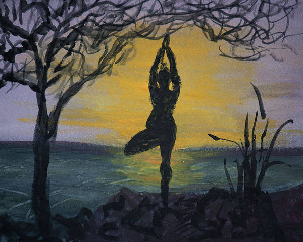 Yoga Tree Pose Poster featuring the painting Yoga Tree Pose by Donna Walsh