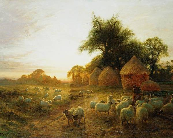Joseph Farquharson Poster featuring the painting Yon Yellow Sunset Dying In The West by Joseph Farquharson