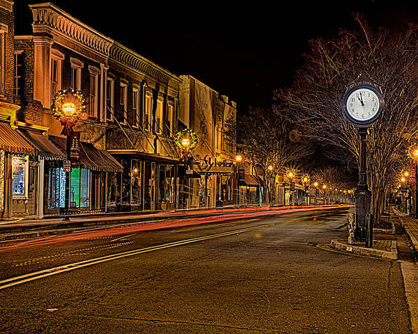 Downtown Poster featuring the photograph York South Carolina Downtown During Christmas by Alex Grichenko