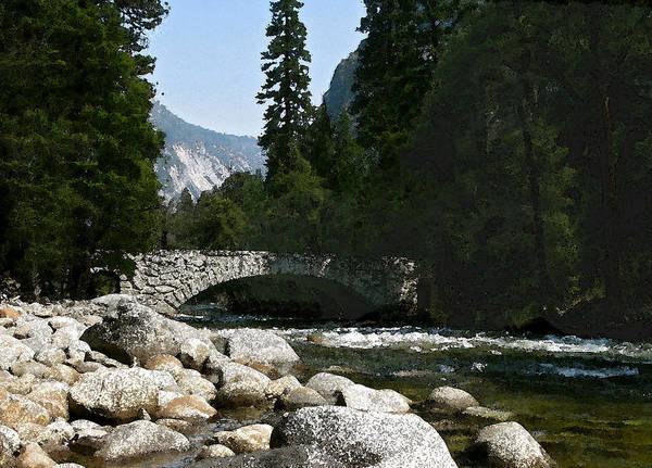 Yosemite Poster featuring the photograph Yosemite Bridge Water Color Photograph by Daniel Farina