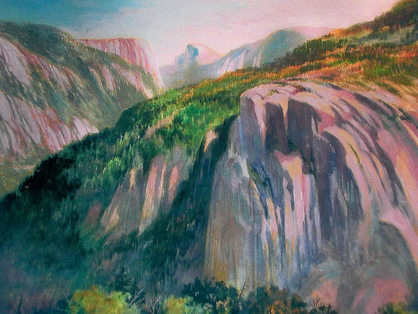 Yosemite;national Park;mountains;landscape;watercolor Painting;water Media; Poster featuring the painting Yosemite by Don Getz