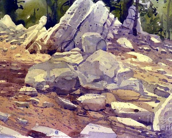 Granite Poster featuring the painting Yosemite Granite by Donald Maier