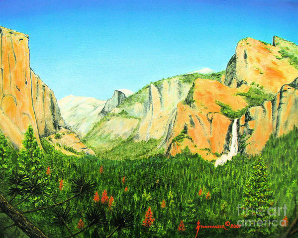 Yosemite National Park Poster featuring the painting Yosemite National Park by Jerome Stumphauzer