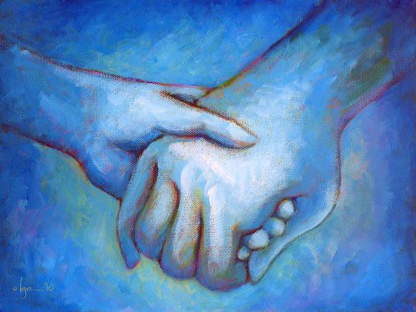 Hands Poster featuring the painting You And Me by Angela Treat Lyon