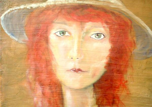 Woman Poster featuring the painting You Found My Hat by J Bauer
