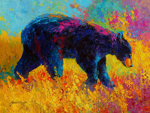 Bear Poster featuring the painting Young And Restless - Black Bear by Marion Rose