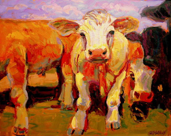 Cows Poster featuring the painting Young Cow by Brian Simons