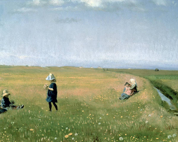 Children Poster featuring the painting Young Girls Picking Flowers In A Meadow by Michael Peter Ancher