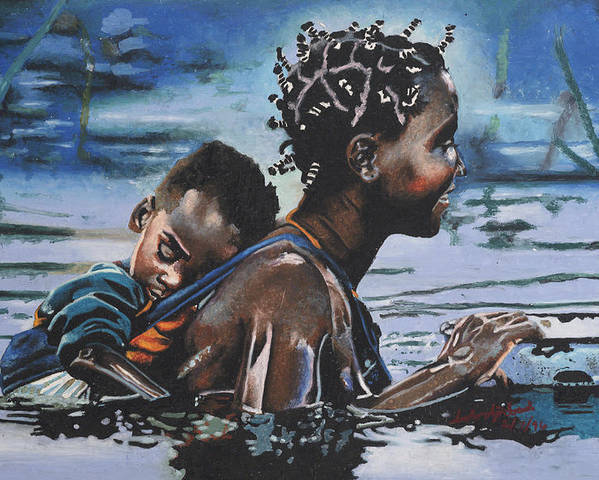 Black Art Poster featuring the painting Young Mother And Child by Andre Ajibade
