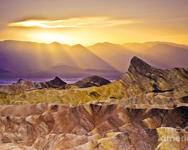 California Poster featuring the photograph Zabriskie Sunset by Greg Clure