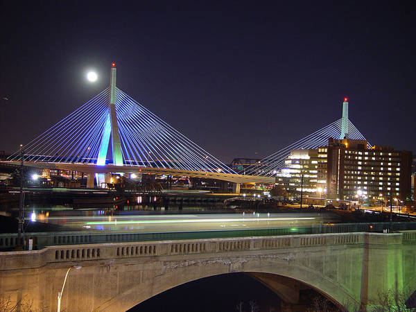 Night Poster featuring the photograph Zakim Bridge by Eric Workman