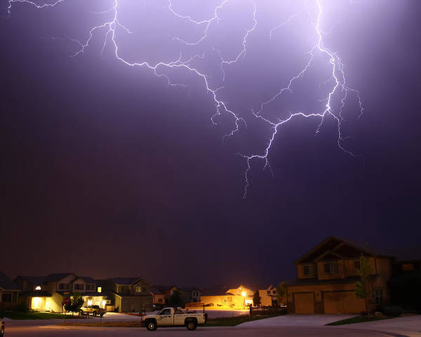 Lightning Poster featuring the photograph ZAP by Shane Bechler