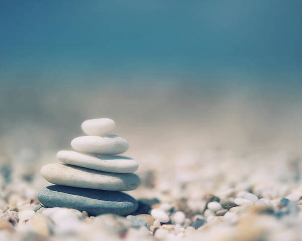 Horizontal Poster featuring the photograph Zen Balanced Pebbles At Beach by Alexandre Fundone