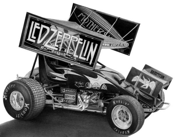 Racing Poster featuring the drawing Zeppelin Sprinter by Lyle Brown