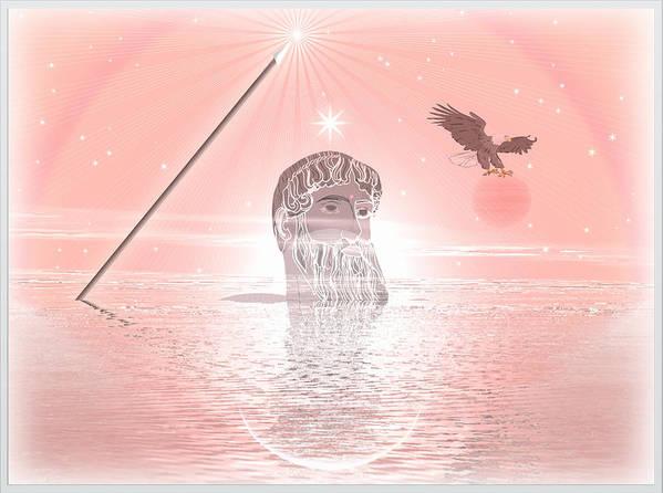 Symbolic Digital Art Poster featuring the digital art Zeus by Harald Dastis