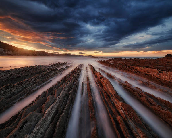 Landscape Poster featuring the photograph Zumaia Flysch 6 by Juan Pablo De