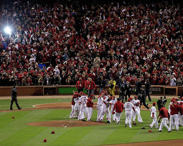 St. Louis Cardinals Poster featuring the photograph 2011 World Series Game 7 - Texas by Rob Carr