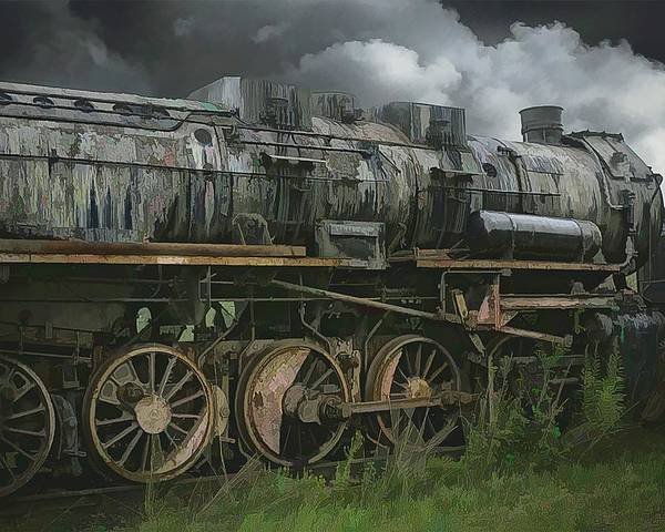 Abstract Poster featuring the photograph Abandoned Steam Locomotive by Robert Kinser