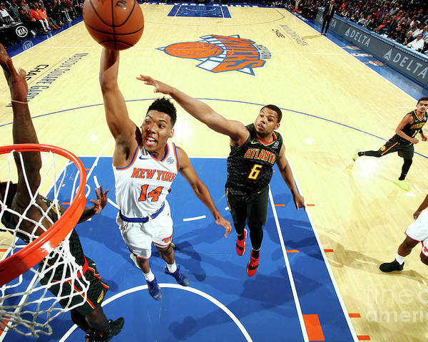 Nba Pro Basketball Poster featuring the photograph Atlanta Hawks V New York Knicks by Nathaniel S. Butler