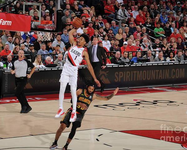 Nba Pro Basketball Poster featuring the photograph Atlanta Hawks V Portland Trail Blazers by Cameron Browne