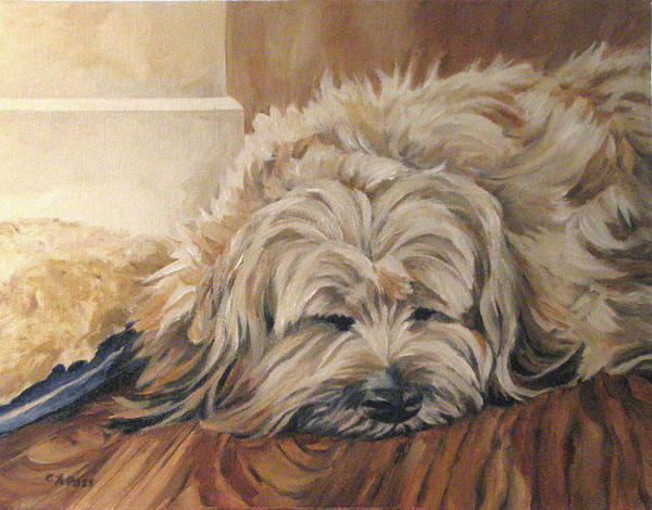 Pet Portrait Poster featuring the painting Bosley's Nap by Cheryl Pass