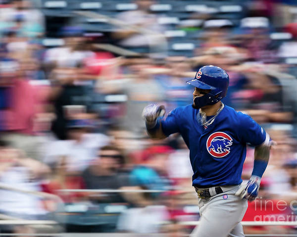 Three Quarter Length Poster featuring the photograph Chicago Cubs V Washington Nationals by Scott Taetsch