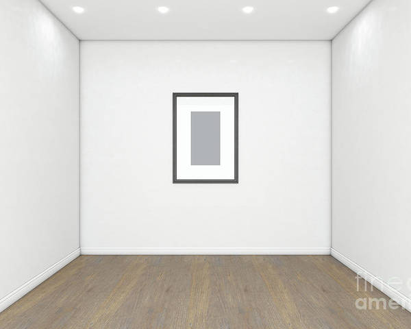 Picture Poster featuring the digital art Empty Gallery Room And Picture by Allan Swart