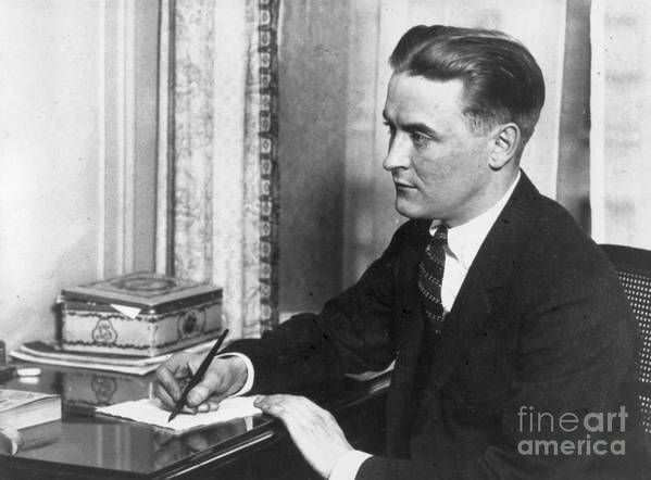 People Poster featuring the photograph F.scott Fitzgerald Writing At Desk by Bettmann