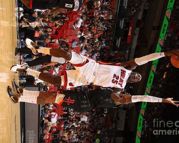 Nba Pro Basketball Poster featuring the photograph Houston Rockets V Miami Heat by Oscar Baldizon