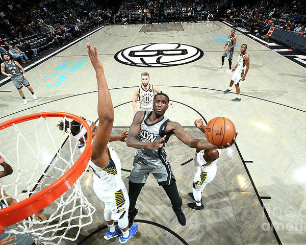 Nba Pro Basketball Poster featuring the photograph Indiana Pacers V Brooklyn Nets by Nathaniel S. Butler