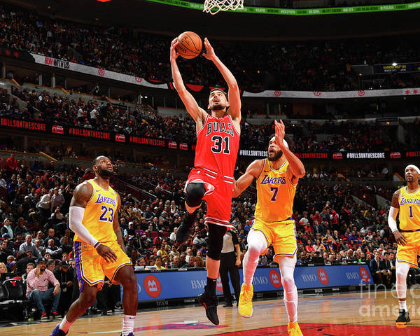Nba Pro Basketball Poster featuring the photograph Los Angeles Lakers V Chicago Bulls by Jesse D. Garrabrant