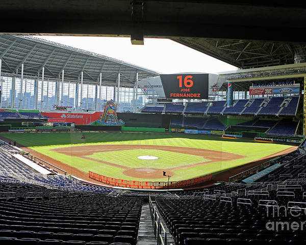 American League Baseball Poster featuring the photograph Miami Marlins News Conference by Joe Skipper