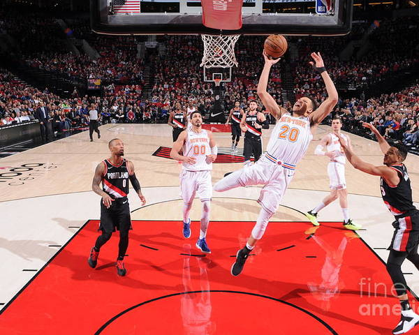 Nba Pro Basketball Poster featuring the photograph New York Knicks V Portland Trail Blazers by Sam Forencich
