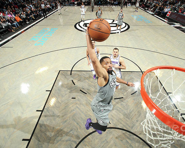 Nba Pro Basketball Poster featuring the photograph Sacramento Kings V Brooklyn Nets by Nathaniel S. Butler