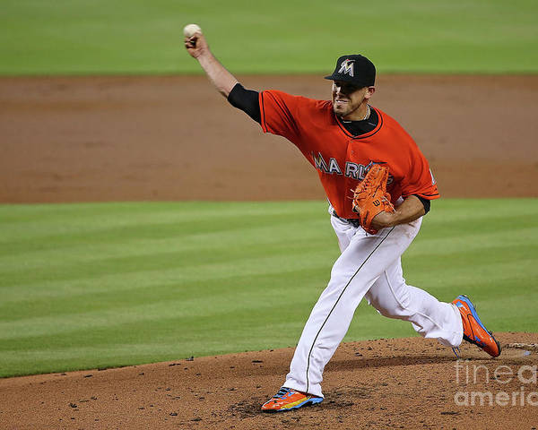 People Poster featuring the photograph San Francisco Giants V Miami Marlins by Mike Ehrmann