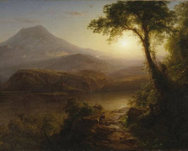 Tropical Scenery Poster featuring the painting Tropical Scenery by Frederic Edwin Church