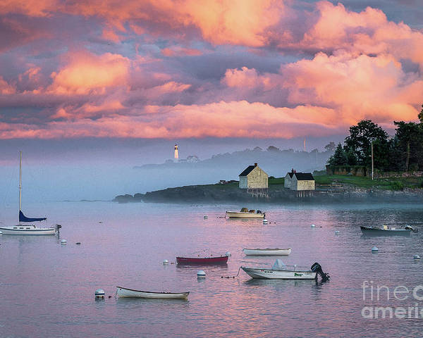 Clouds Poster featuring the photograph Willard Beach Sunset by Benjamin Williamson