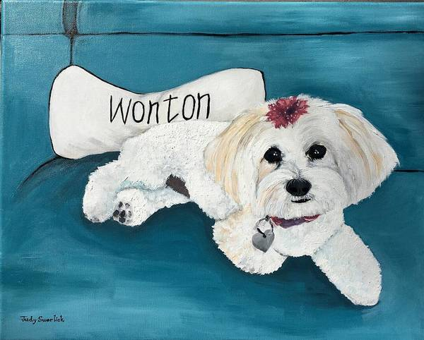 Maltese Poster featuring the painting Wonton by Judy Swerlick