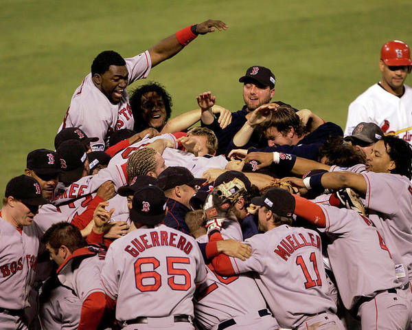 Celebration Poster featuring the photograph World Series Red Sox V Cardinals Game 4 by Stephen Dunn